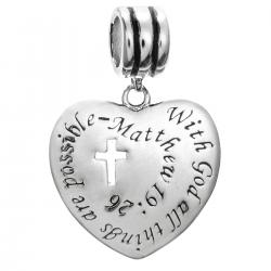 "925 Sterling Silver Christian Cross ""With God All Things Are Possible"" Dangle Bead for European Charm Bracelets"
