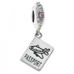 .925 Sterling Silver Plane Travel Passport Dangle Pink CZ Crystal Bead for European Charm Bracelets