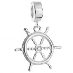 925 Sterling Silver Ship Helm Rudder Dangle Bead for European Charm Bracelets