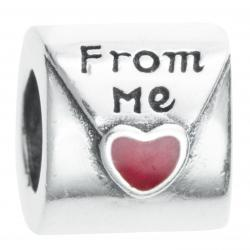 Antique Sterling Silver Red Enamel Love Letter From Me Bead for European Charm Bracelets