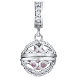 Rhodium on 925 Sterling Silver October Birthstone Pink CZ Dangle for European Charm Bracelets