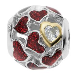 Rhodium on 925 Sterling Silver Heart Infinity Love Enamel CZ Bead for European Charm Bracelets