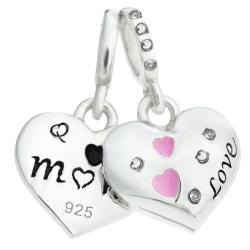 925 Sterling Silver Mom & Daughter Pink Enamel Love Heart CZ Dangle Bead for European Charm Bracelets