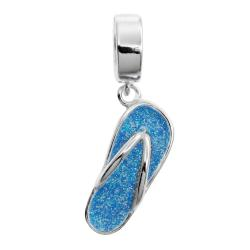 Sterling Silver Flip-flop Sandal Slipper Beach Blue Enamel Dangle Pendant Bead for European Charm Bracelet