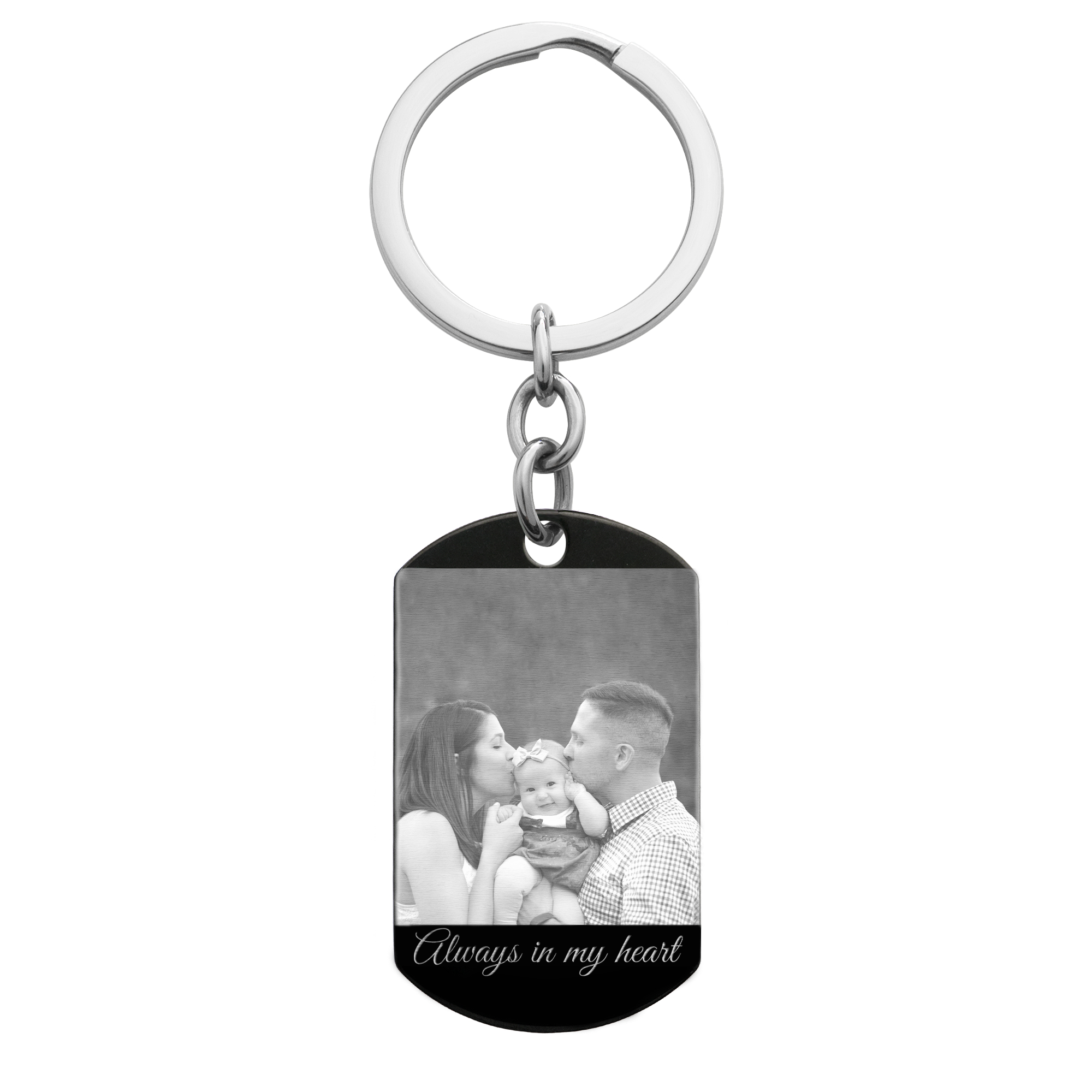 Personalized Photo Text Message Engraved Stainless Steel Custom Dog Tag Keychain Key Ring