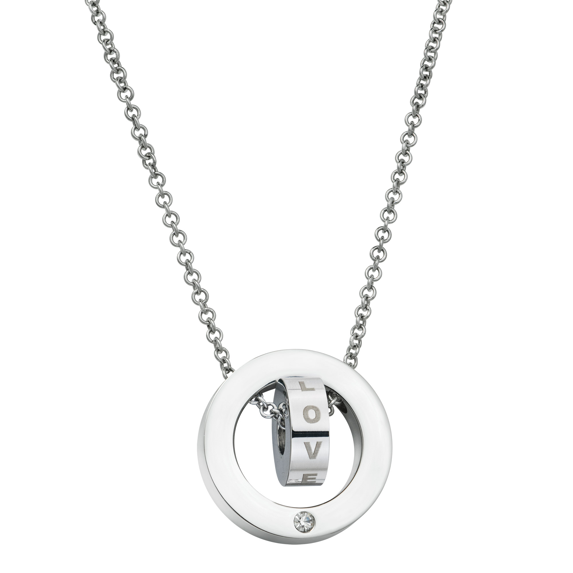 "316 Stainless Steel Personalized Dual Ring Love Dangle Charm Rolo Chain Necklace 18""+1\"" Extender"