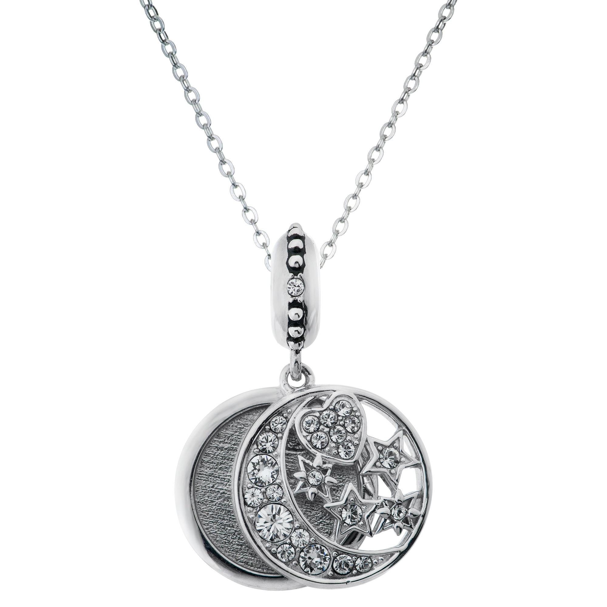 "925 Sterling Silver Personalized Photo Moon Star European Charm Pendant Chain Necklace 18"" Made of Swarovski Elements Crystal"