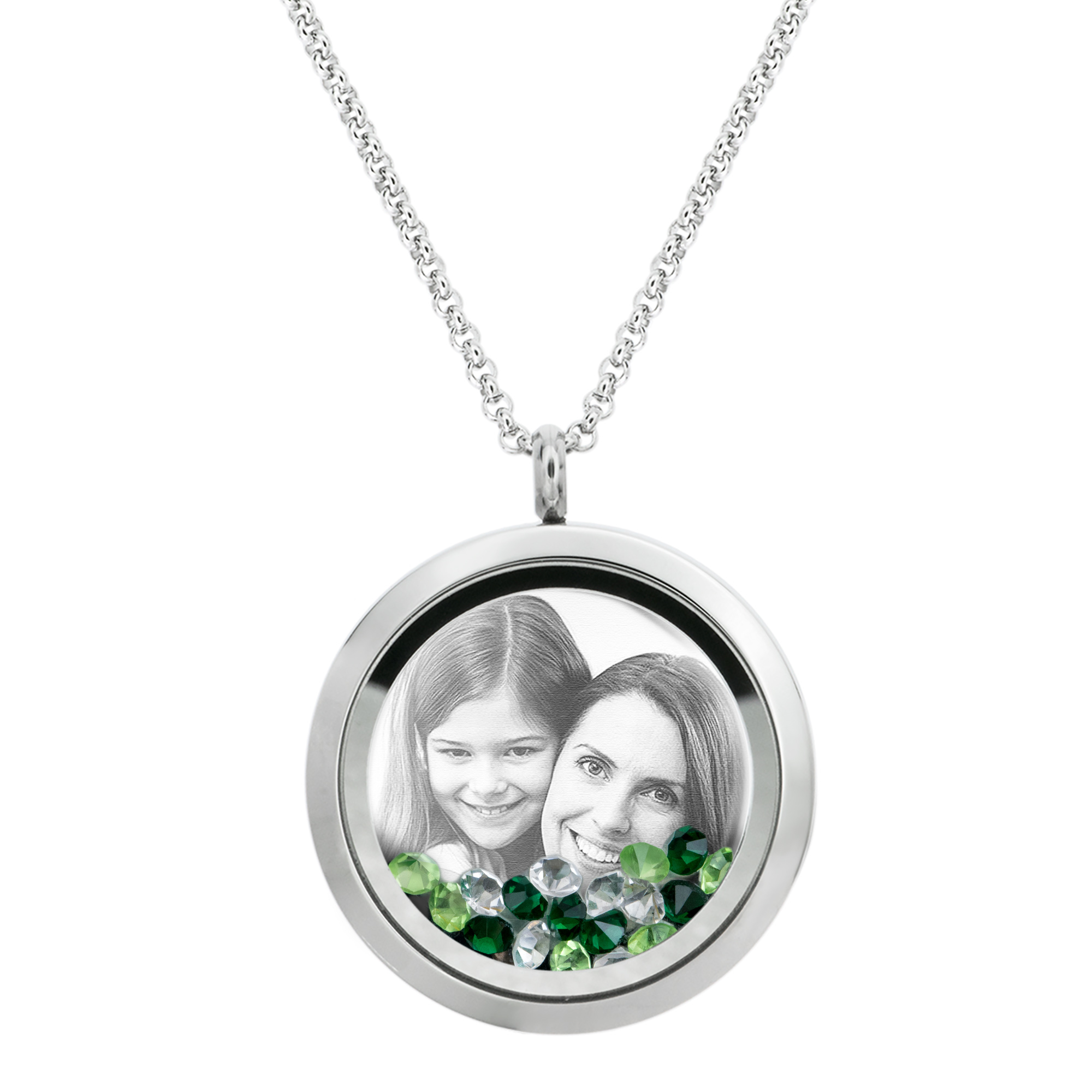 1x Stainless Steel Personalize Photo Message Engrave Round Floating Crystal Chain Necklace Pendant to My Best Mom Mother 30mm Green
