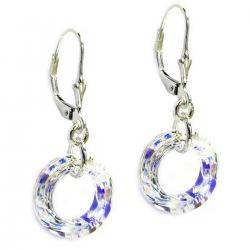 2x Sterling Silver Round Clear AB Crystals Leverback Dangle Earrings Using Swarovski Elements Crystal