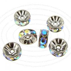 6x Rondelle Silver Bead Spacer Clear AB Crystals 4mm