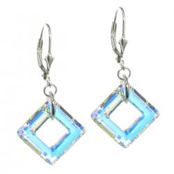 "2x Sterling Silver Square Clear AB Crystals Leverback 1.5"" Dangle Using Swarovski Elements Crystal Earrings"