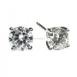2x Rodhium on 925 Sterling Silver 4mm Round Clear CZ Crystal Stud Earring Post