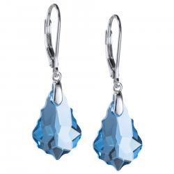 2x Sterling Silver Baroque Aquamarine Blue Crystals Leverback Dangle Earrings Using Swarovski Elements
