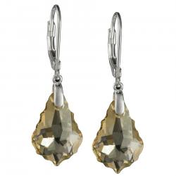 2x Sterling Silver Baroque Golden Shadow Crystals Leverback Dangle Earrings Using Swarovski Elements