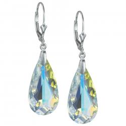 2x Sterling Sivler Teardrop Clear AB Crystals Leverback Dangle Earrings Using Swarovski Elements Crystal