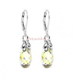 2x Sterling Silver Teardrop Briolette Clear AB Crystals Leverback Dangle Earrings Using Swarovski Elements