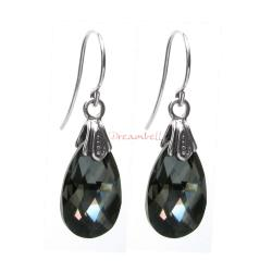2x Sterling Silver Teardrop Silver Night Crystals Earring Hook Dangle Earrings Using Swarovski Elements Crystal
