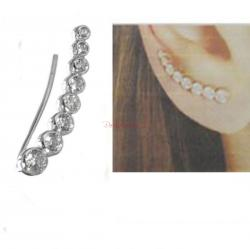 1x Rhodium on 925 Sterling Silver Clear CZ Crystal Dots Earring Cuff French Hook Earwire for Left Ear