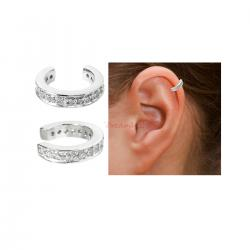 1x Rhodium on 925 Sterling Silver Round Ring Clear CZ Crystal Clip Cuff Earrings / Ear Cuffs Wrap