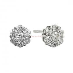 2x Rhodium on Sterling Silver Daisy Flower Clear CZ Crystal Stud Earring Post