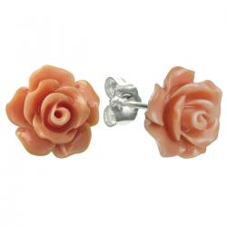 2x Sterling Silver Simulated Orange Coral Rose Earring Stud Post 10mm