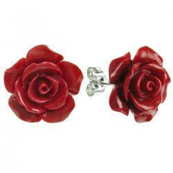 2x Sterling Silver Simulated Red Coral Rose Earring Stud Post 15mm