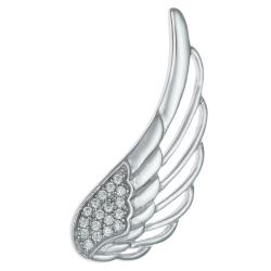 1x Rhodium on 925 Sterling Silver Angel Wing Feather Clear CZ Crystal French Hook Earwire Ear Cuff Wrap for Left Ear