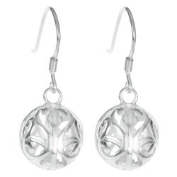 2x 925 Sterling Silver Round Filigree Flower Ball Dangle Ear Wire French Hook Earring