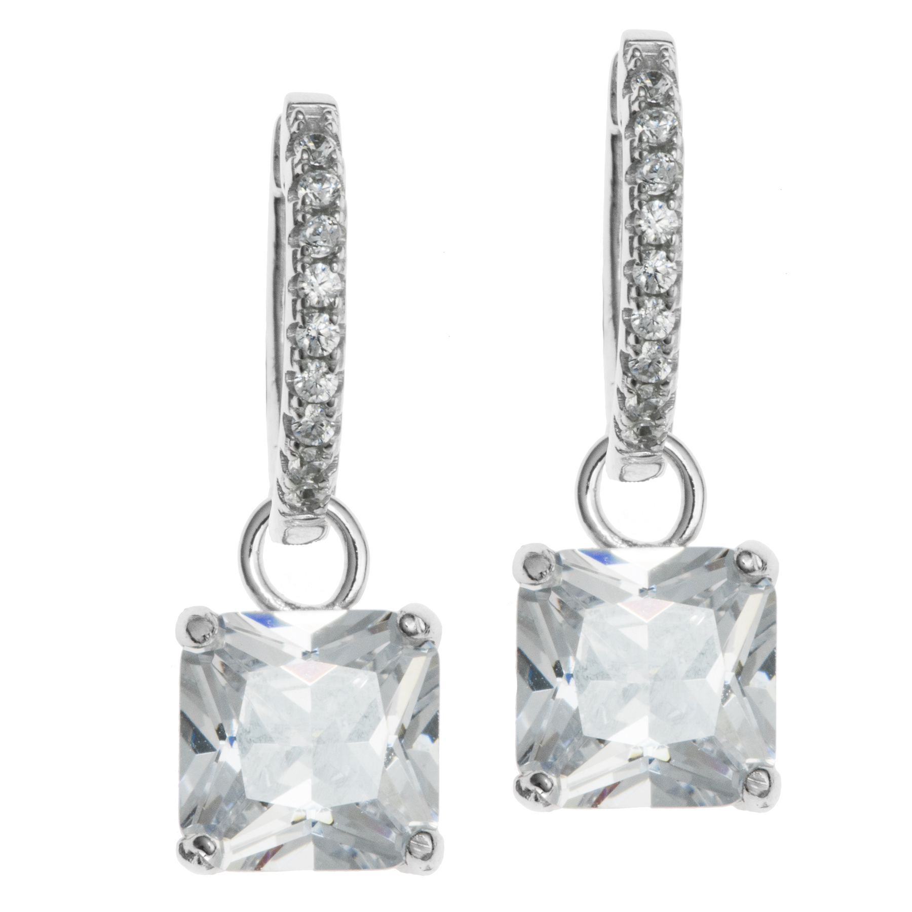 2x Rhodium on Sterling Silver Square Clear CZ Crystal Charm Hoop Huggie Dangle Earring