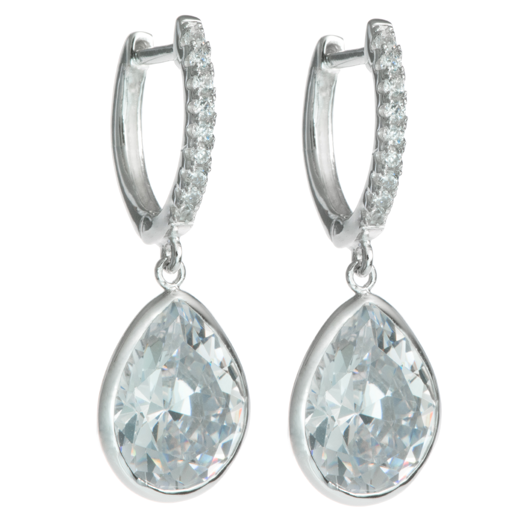 2x Rhodium on Sterling Silver Teardrop Clear CZ Crystal Charm Hoop Huggie Dangle Earring