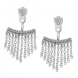 2x Rhodium on 925 Sterling Silver Clear CZ Crystal Chain Tassel 2 in 1 Stud and Jacket Post with Friction Back Earrings