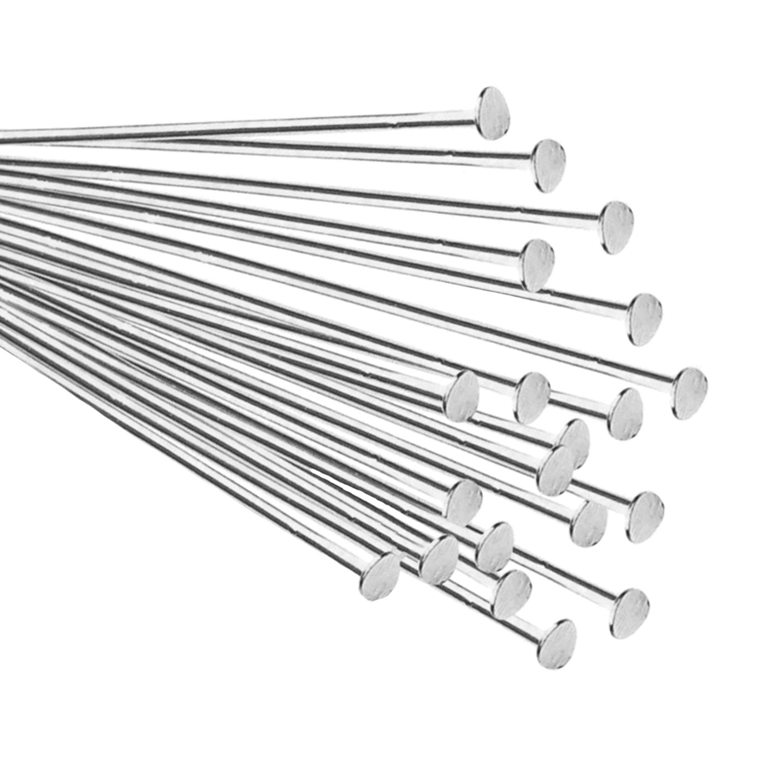 20x Silver Filled 925 Headpins Head pins 26ga 26 Gauge 1.5""