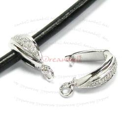 1x Rhodium plated Sterling Silver CZ Pendant Bail Clasp Connector