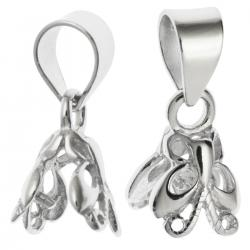 2x BRIGHT STERLING SILVER Bail  BUTTERFLY PENDANT CLASP