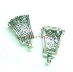 1x STERLING SILVER BAIL FLOWER SLIDE PENDANT CONNECTOR CLASP