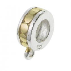 1x 14K Gold plated Sterling silver Pendant Charm Connector Cord Ring CIRCLE DOT for European Charm