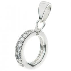 1x Rhodium plated Sterling Silver CZ Crystal Round Wheel Pendant Bail Dangle Clasp