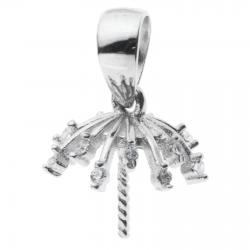 1x 925 Sterling Silver Snow Flake Flower CZ Crystal Bail Pin 8mm Cup Pearl Pendant Connector