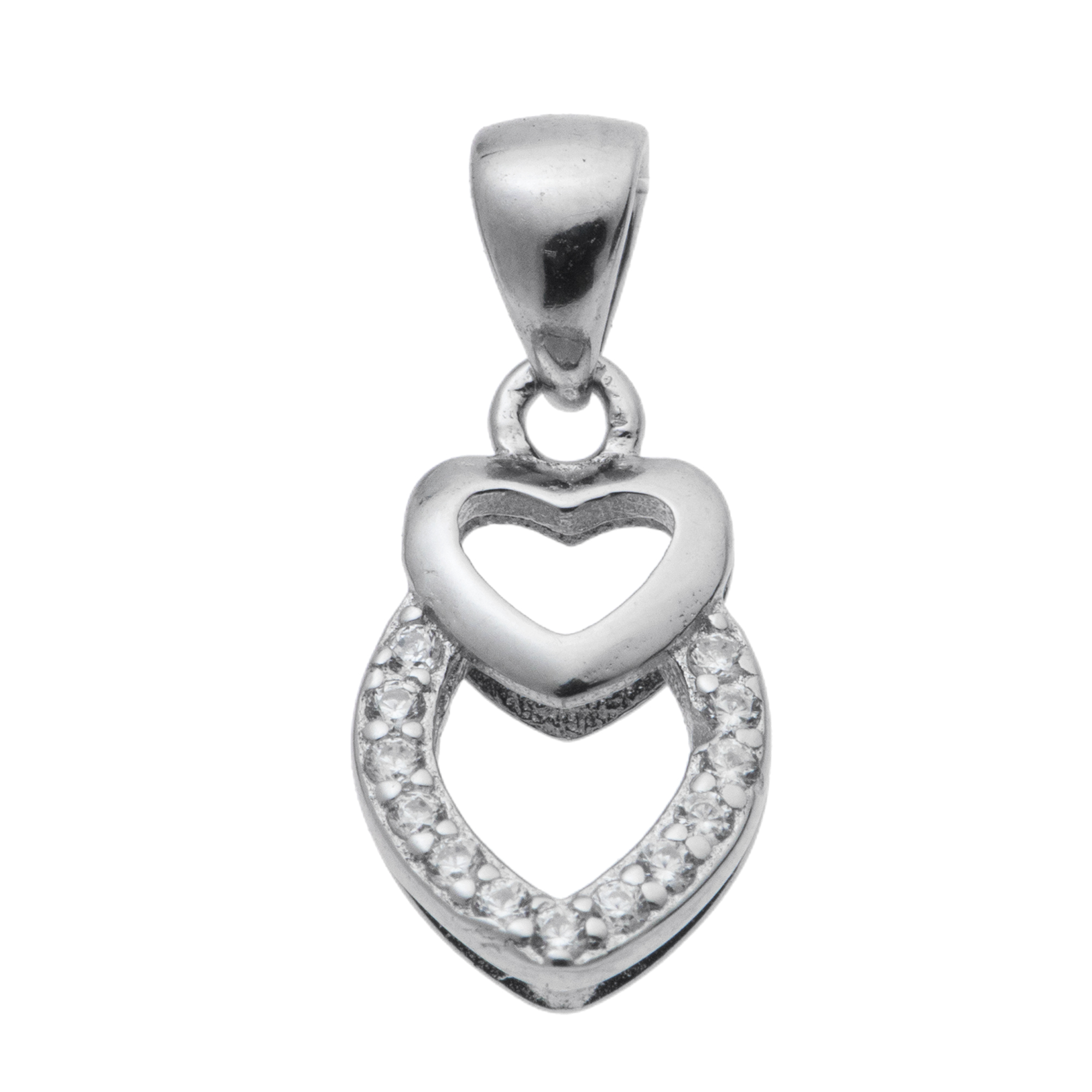 Rhodium on 925 Sterling Silver Double Love Heart CZ Pinch in Bail Pendant Connector