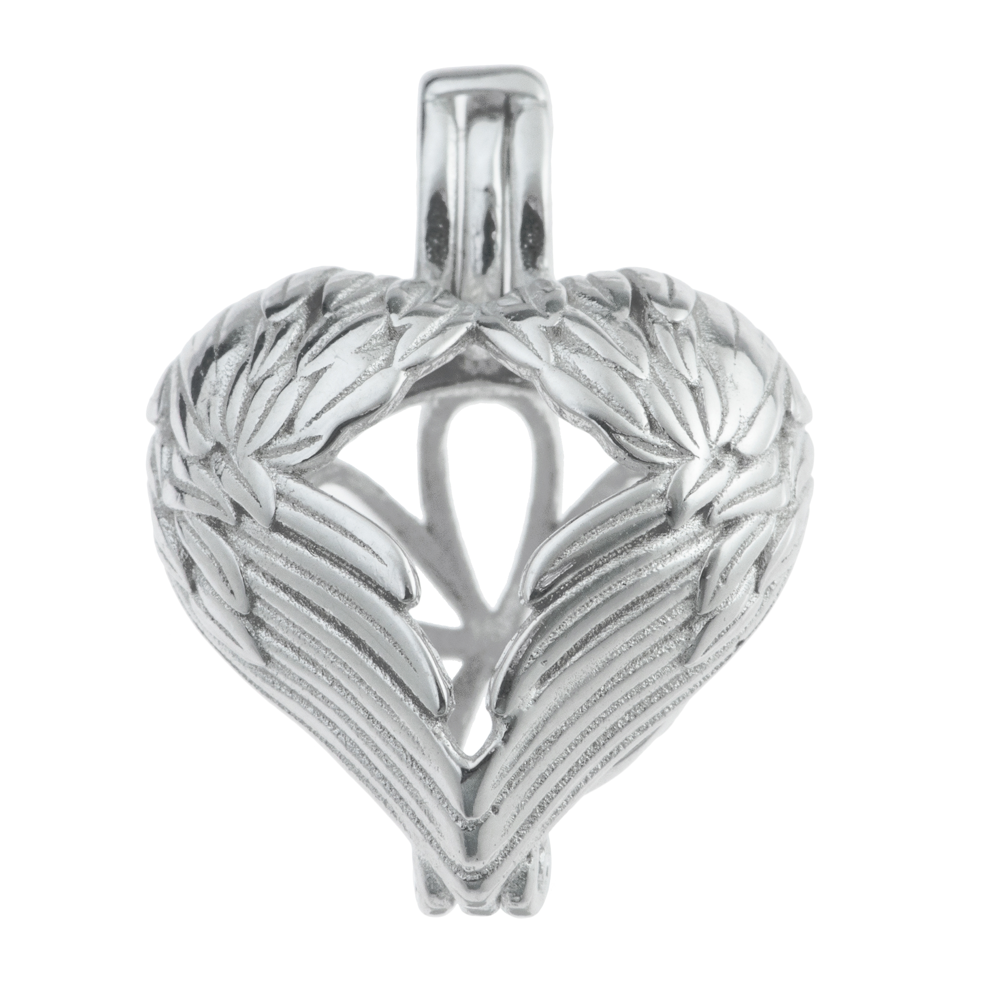 Rhodium on 925 Sterling Silver Guardian Angel Wing Heart Interchangeable Pearl Cage Bead Charm Holder Pendant
