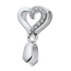 1x Rhodium on 925 Sterling Silver Sweet Heart Love CZ Pinch in Bail Pendant Connector Slide