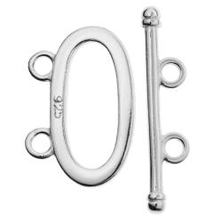 1x Sterling Silver Oval toggle 2 strand clasp