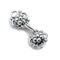 1x Sterling Silver Flower Leaf Fish Hook Eye Clasp Connector 24mm