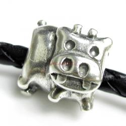 1x Sterling silver Cute Cow Bead for European Charm Bracelets