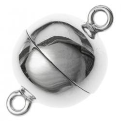 1x Sterling Silver 1 strand Round Ball Magnetic Clasp 10mm
