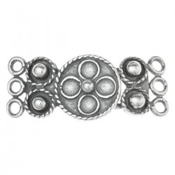 1x Sterling  Silver 3 Strands Flower Hook Eye Clasp 24mm
