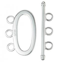 1x Sterling Silver Oval toggle 3 strand clasp