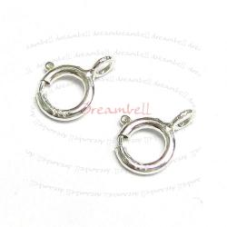 10X  Italian STERLING Silver Spring Ring Clasp 5mm