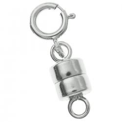 1 Set Sterling Silver 4mm Magnetic Clasp Converter for Necklaces w/ 5mm Spring Ring Clasp