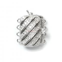1x Rhodium Plated Sterling Silver Filigree Rectangular Spiral 4 Strands Micro Pave CZ Crystal Pearl Box Clasp 16mm